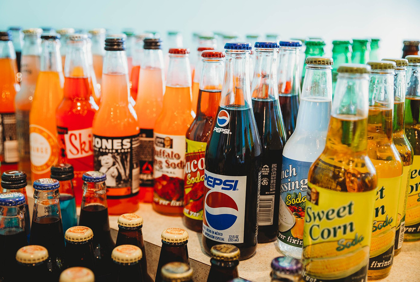 100 flavors of vintage soda at Almost Famous Popcorn