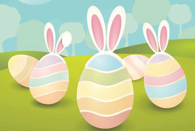 Easter eggs with ears illustration